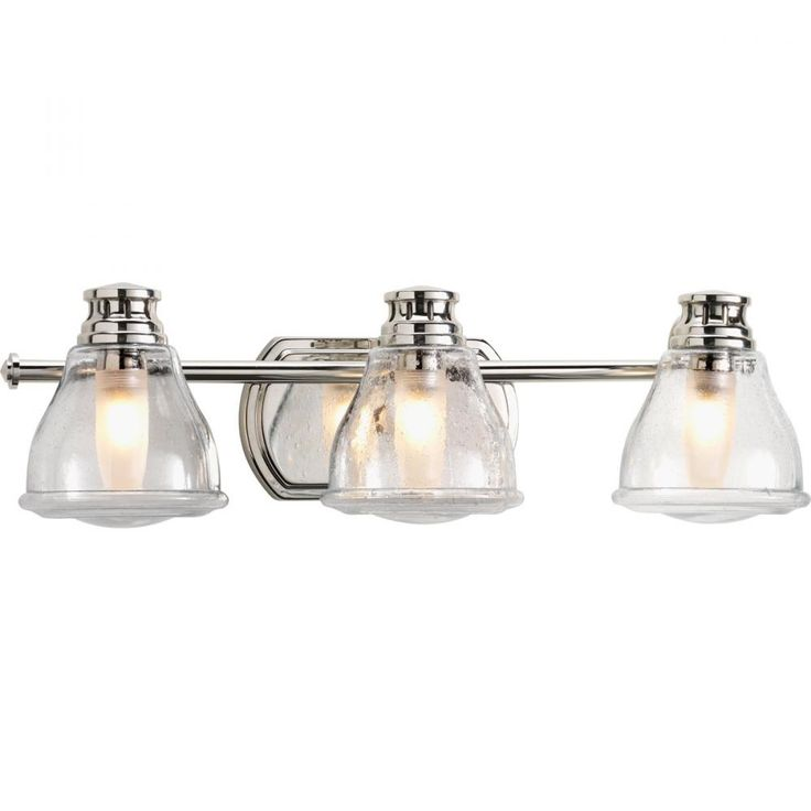 Chrome Bathroom Light Fixture: Three Light Polished Chrome Clear Seeded Glass Vanity : 1N563 | Dulles  Electric Supply Corp.,Lighting