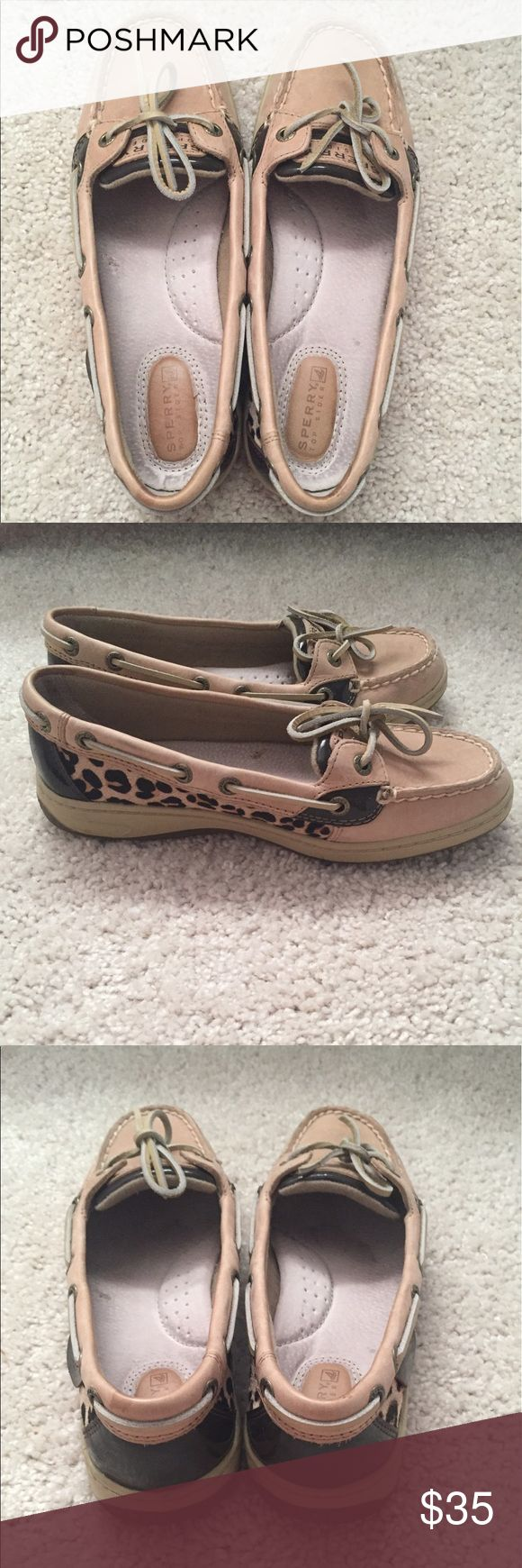 Sperry Top-Sider Angelfish boat shoes - leopard Sperry Angelfish boat shoes with a leopard side detail. Very good condition- only worn a few times. Sperry Shoes Flats & Loafers
