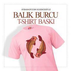 Balık Burcu Tasarımlı T Shirt Baskı