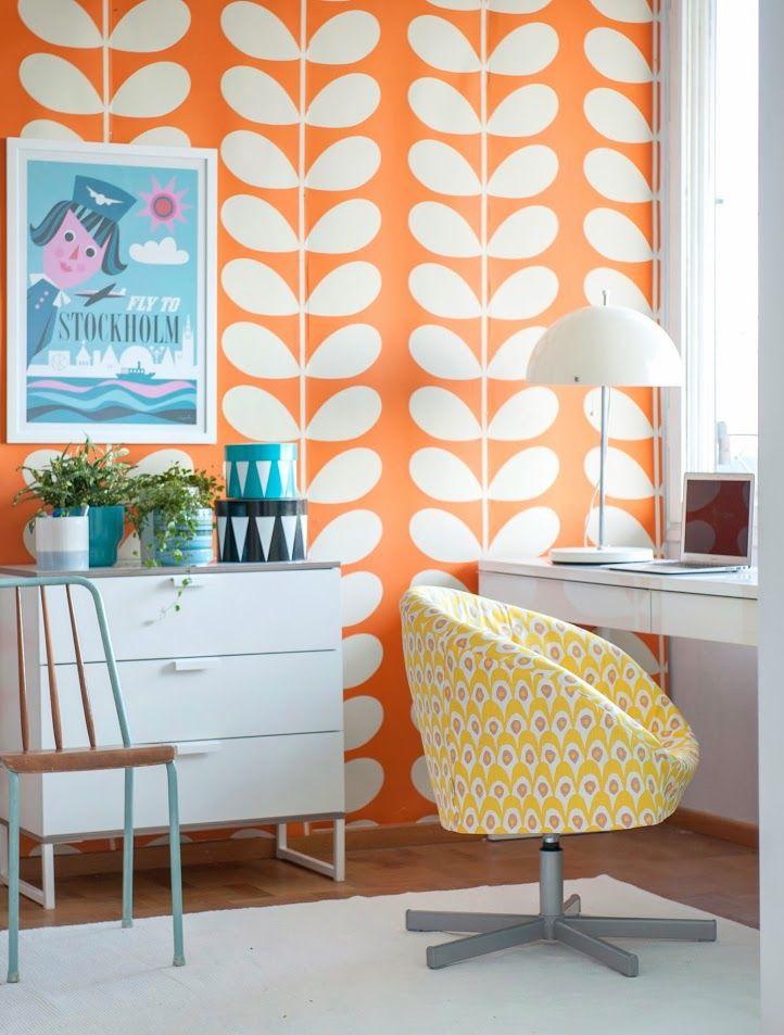 Orla Kiely wallpaper, Ikea furniture, Bemz slipcover designed by Camilla Lundsten
