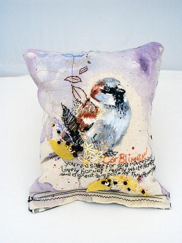 Cor blimey! Cockney sparrow. Acrylic with hand embroidery