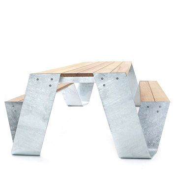 Hopper Table by Dirk Wynants // An iroko wood tabletop and benches that are connected by a frame cut from a single sheet of galvanized steel. Among countless other distinctions, this self-sufficient design has earned a red dot design award, an IDEA Award, and an iF award.