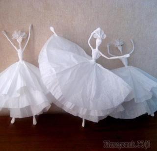 Как своими руками сделать балерину из салфеток и проволоки.