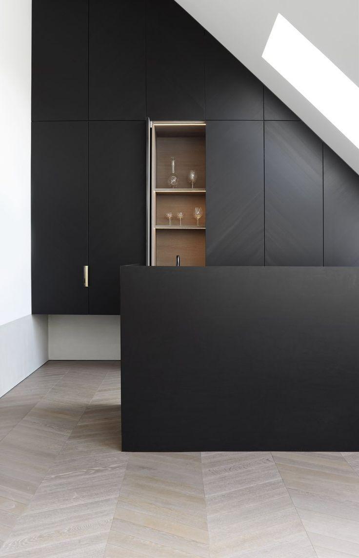 318 best kitchen goals images on pinterest kitchen ideas modern sleek and simple black kitchen design with light white washed herringbone floors