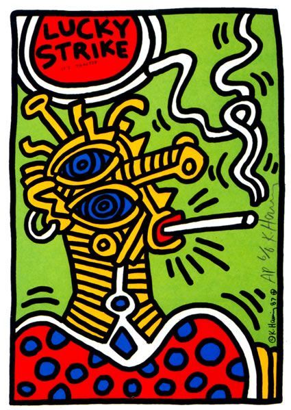 Lucky Strike Keith Haring Date: 1987 Style: Pop Art Genre: advertisement