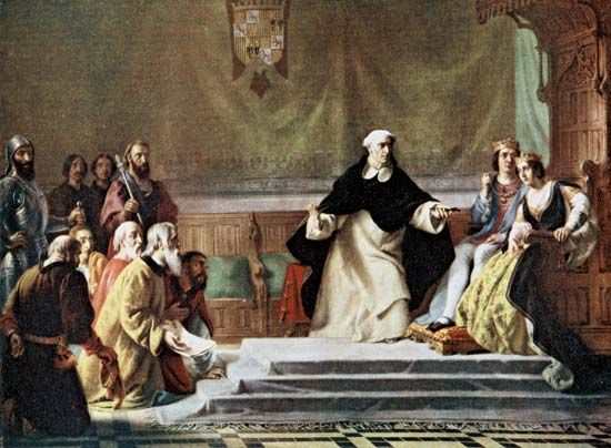 Spanish Inquisition | Spanish history [1478-1834] | Britannica.com During the Catholic Reconquista of Spain, the majority of the Jewish and Muslim population living on the Iberian Peninsula were forced to either leave or risk death by torture. LG - 15th-16th century - IS