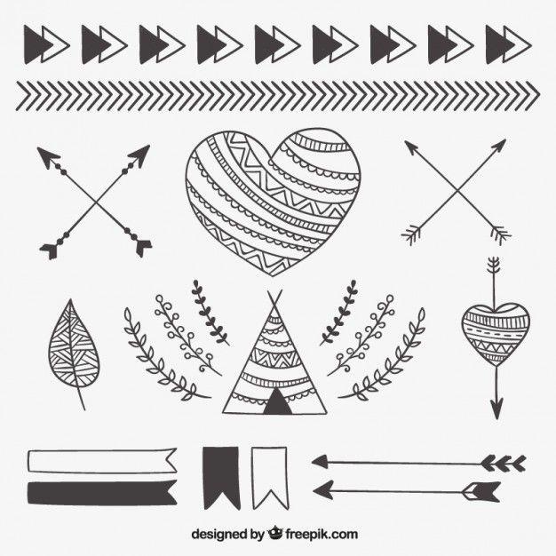 Éléments ethniques Sketchy Vecteur gratuit