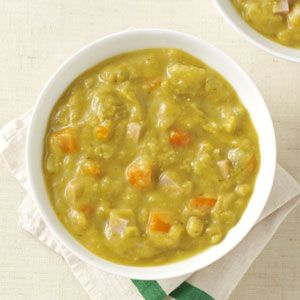 """Debra Keil, Owasso, Oklahoma - """"We started a 39-day Soup Challenge to eat healthier after the holidays, figuring if """"Survivor"""" contestants could last 39 days on little food, surely we could survive on soup! This split pea soup was a family favorite."""""""