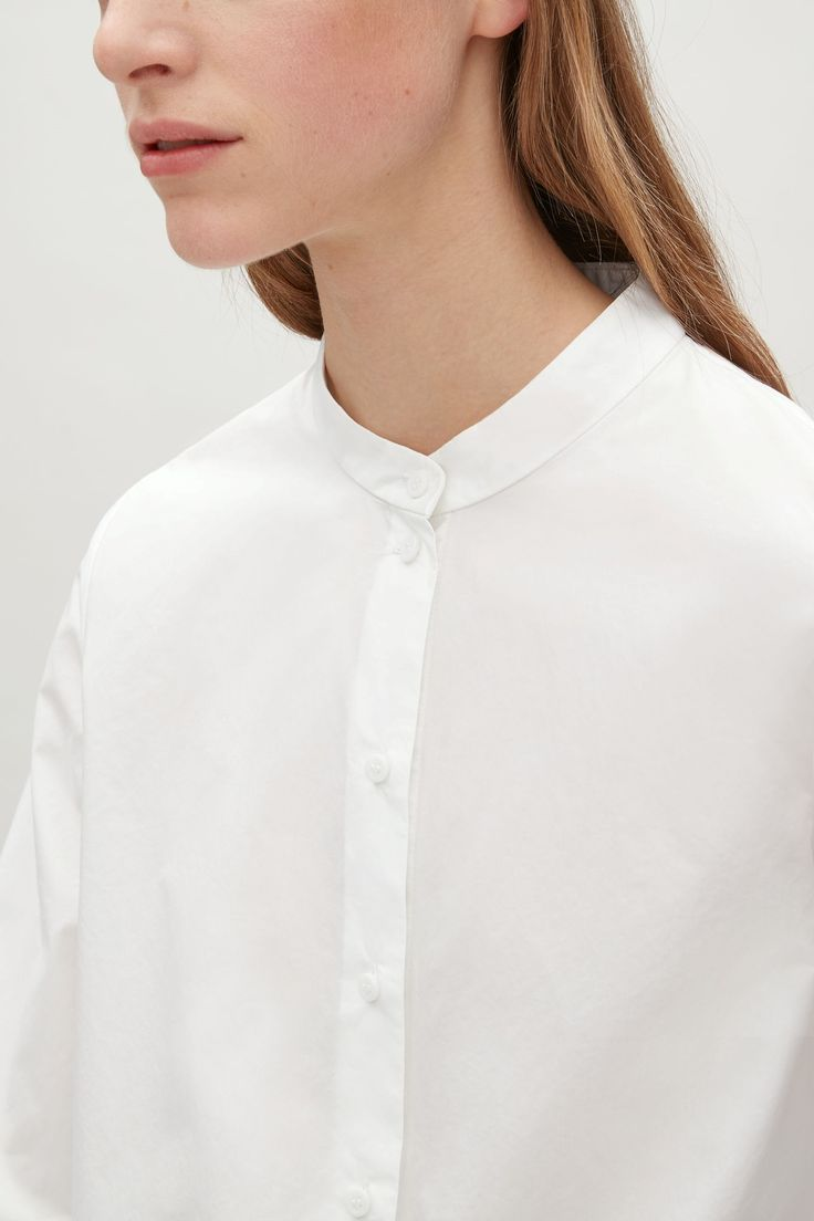 COS image 3 of Grandad-collar shirt in White