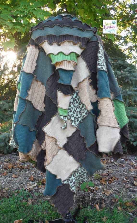 Hooded Patchwork Poncho made from recycled wool by SewFreakinHappy