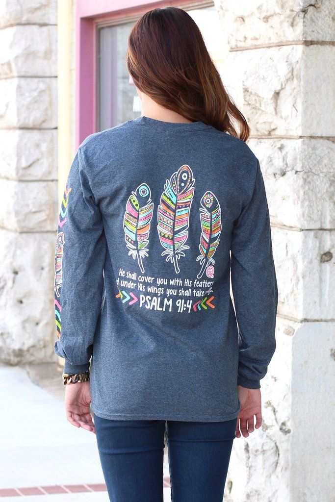 Long sleeve t-shirt with Pslam 91:4 graphic on it. Features feather print down the sleeve too! Heather charcoal in color.