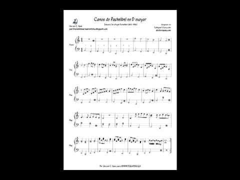 diegosax: Canon de Pachelbel Partitura para piano fácil. Partitura del Canon en Re (D) para principiantes de piano, flauta, violín, trompeta, sax, clarinete y otros instrumentos. Canon by Pachelbel piano sheet music