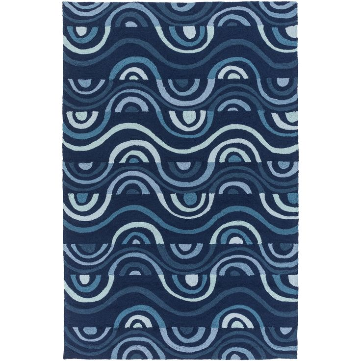 "Hand-hooked Lina Geometric Polypropylene Rug (3'3 x 5'3) (Navy-(3'3"" x 5'3"")), Blue, Size 3' x 5' (Plastic, Abstract)"
