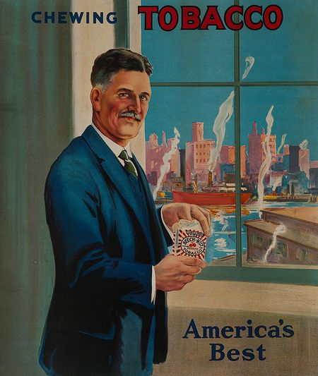 1920s America's Best Chewing Tobacco vintage advert poster