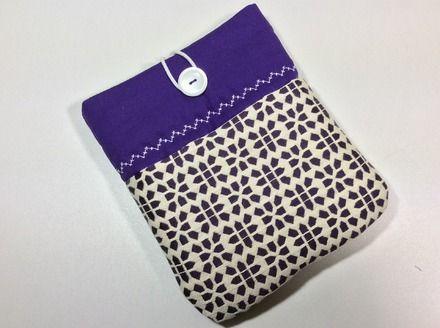"""Pochette pour liseuse Kobo Aura en jacquard """"ethnique"""" violet et écru, housse pour liseuse Kobo Aura, étui  : Housses ordinateurs et tablettes par sepia"""