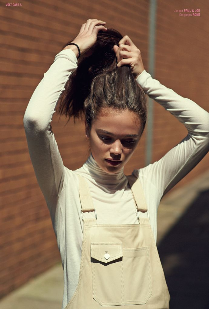 ||FASHION|| cream on cream - polo-neck and dungaree combination - cream dungarees - high ponytail