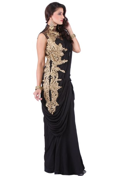 Black Georgette Drape Saree