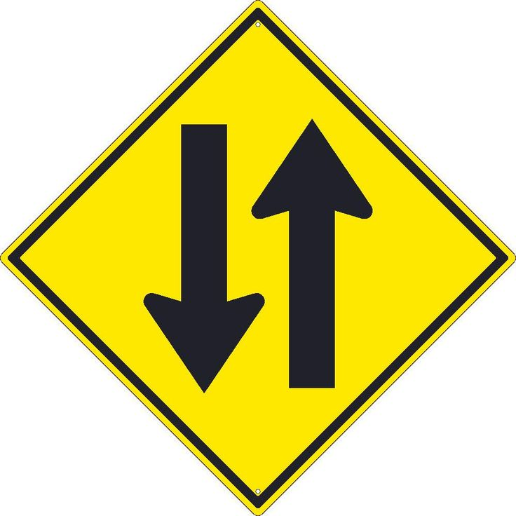 """Two Way Traffic Arrows, National Marker TM238K, 30""""x30"""", Black On Yellow, 85 Percent Recycled .080"""" High Intensity Reflective Aluminum Surface and Roadway Warning Sign With 2 Holes For Post Mounting - Each"""