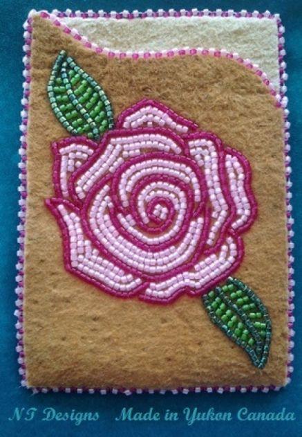 Moosehide ID/Card Holder Rose