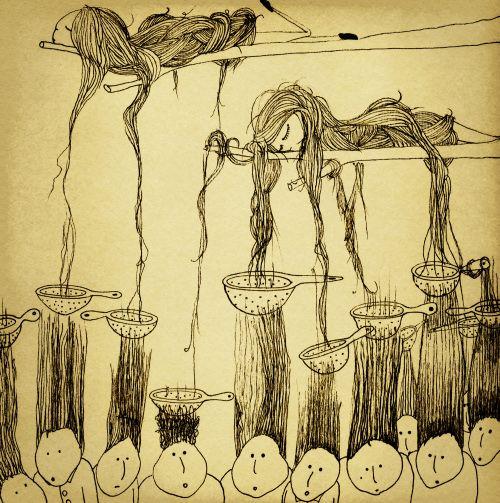 """Illustration for italian website. """"Capelli loro"""" by Eva Escoms Estarlich"""