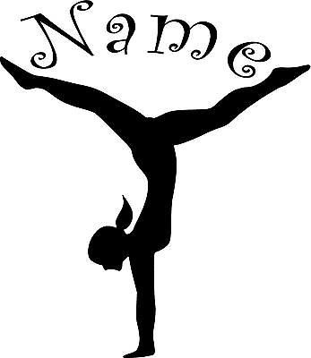 Gymnast personalized w/name- girls vinyl wall decal