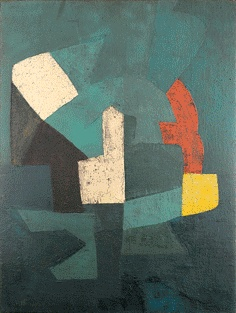 Serge POLIAKOFF (1900 - 1969)  Composition  1954  Oil on canvas  Signed lower left  45 5 / 8 x 35 in.