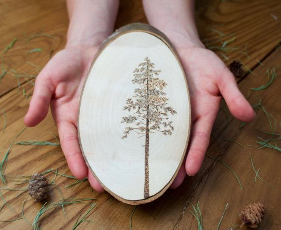 PINE WALL ART hand burned pine tree on wood by TheFlintOutpost