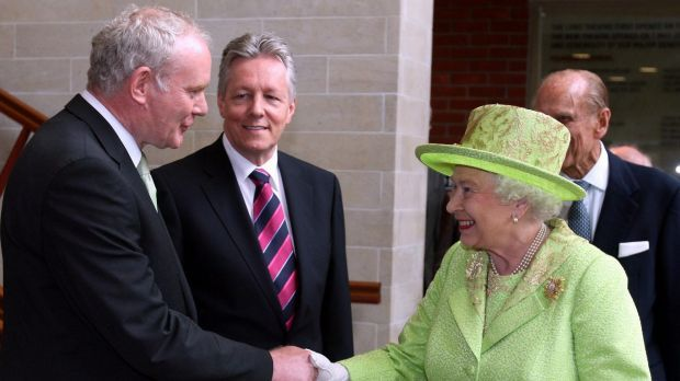 "He felt the 2012 handshake with the Queen could help define ""a new relationship between Britain and Ireland and between the Irish people themselves"". The Queen shakes hands with Martin McGuinness, watched by then first minister Peter Robinson, centre, at the Lyric Theatre."
