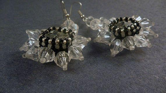 Handmade beads embroidery earrings    black by IzabelaCichocka