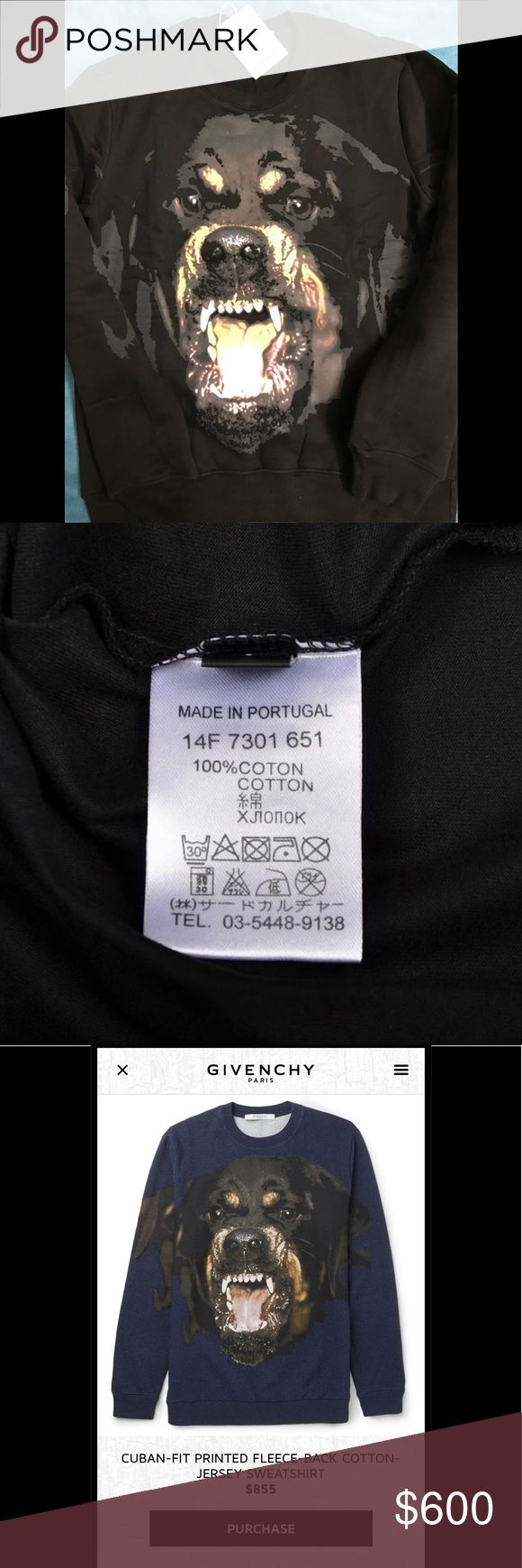 Givenchy Rottweiler sweater size L Cuban fit Brand new sweater for sale for those Givenchy lovers. Accepting offers and will be happy to provide more pictures if serious inquiry . Has tags Givenchy Sweaters