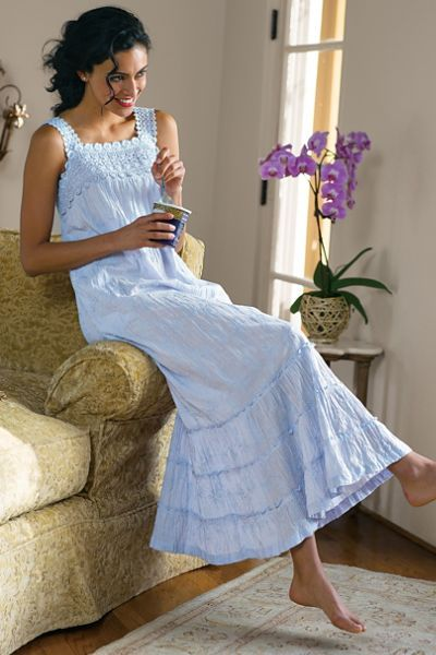 A beautiful gown is pure pleasure at day's end - like our Serene Garden Gown I! This heavenly soft crinkled cotton style features a crocheted lace yoke and straps atop a floral embroidered body flowing to a tiered ruffled hem.