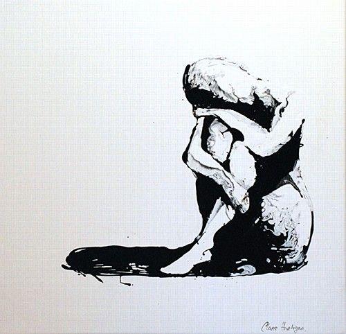 "Clare Hartigan, ""Remember"" #art #paint #remember #blackandwhite #paintdrips #pollock #splatter #solitary #shadows #painting #DukeStreetGallery"