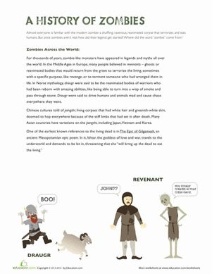 Halloween Fifth Grade Comprehension History Worksheets: History of Zombies