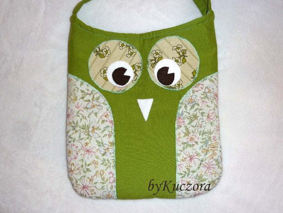 Owl bag tote recycled bag shoulder bag cross body bag by byKuczora