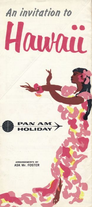 Pan Am Hawaii ad 1960s  60s posters, good use of colour and calligraphy-like images.