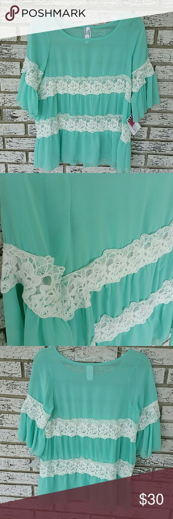 Sheer blouse Beautiful lace work, flows with every walk. 3/4 length sleeves 100% polyester Giddy up Glamour  Tops Blouses