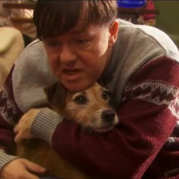 Derek (Ricky Gervais) and his JR Ivor