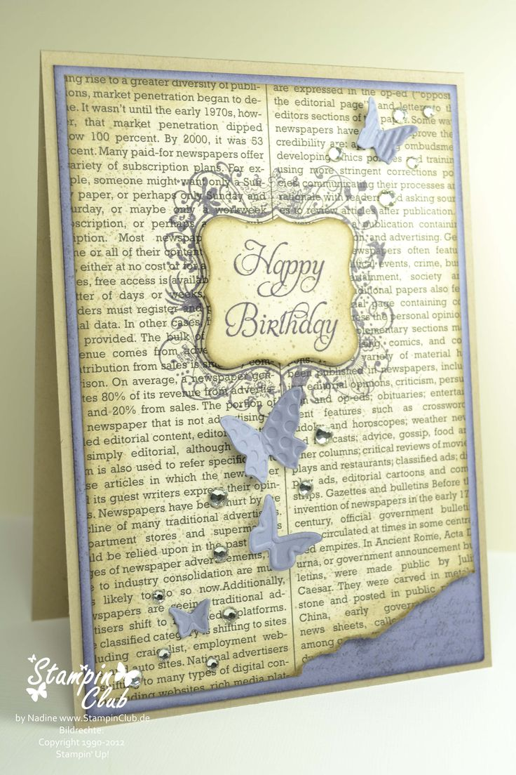 background stamp behind newsprint-torn corner: Books Pages, Happy Birthday, Cards Ideas, Butterflies Birthday, Handmade Cards, Birthday Cards, Stamps Sets, Butterflies Cards, Stampin Up Cards