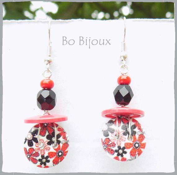 Boucles d'oreilles boutons liberty rouge et noir