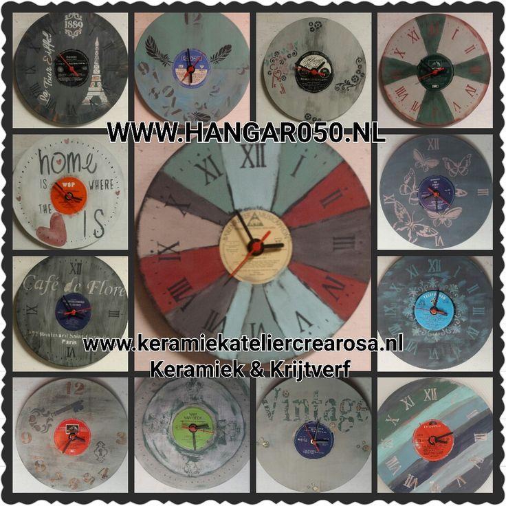 Te Koop € 12,50 Klokken gemaakt van lp's ook in opdracht!  www.keramiekateliercrearosa.nl