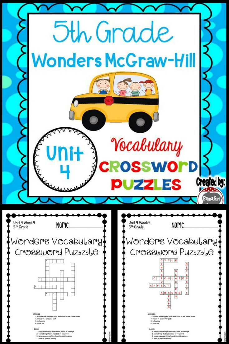 These crossword puzzles are based on the 5th grade Wonders McGraw-Hill reading series. This is a fun handout that is great for classwork, homework and/or to add to student's interactive reading notebooks so they can master the definitions of their weekly