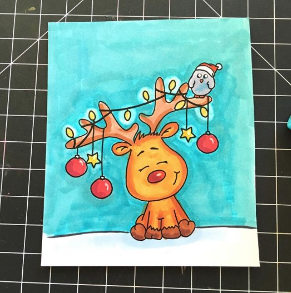 Gerda Steiner Designs  Rudolph having fun!  #cardmaking #papercraft #CuteAnimals #whimsical #stamping #crafting #scrapbooking #adultcoloring