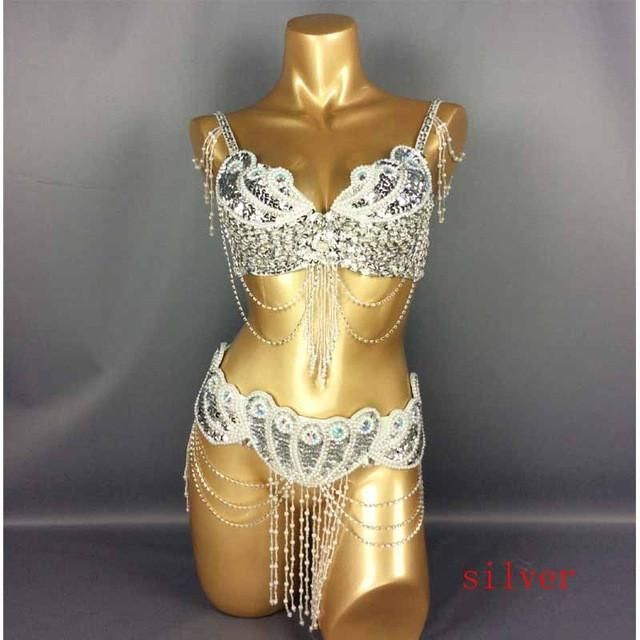 D /&DD CUP Belly Dance Costume Outfit Set Bra Belt Carnival Bollywood 2 PCS