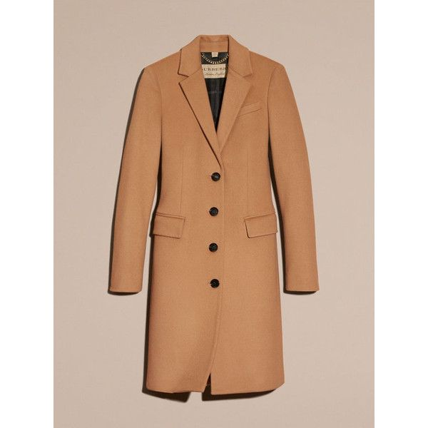 Burberry Wool Cashmere Tailored Coat ($1,940) ❤ liked on Polyvore featuring outerwear, coats, tailored coat, lapel coats, single breasted wool coat, burberry and slim fit coat