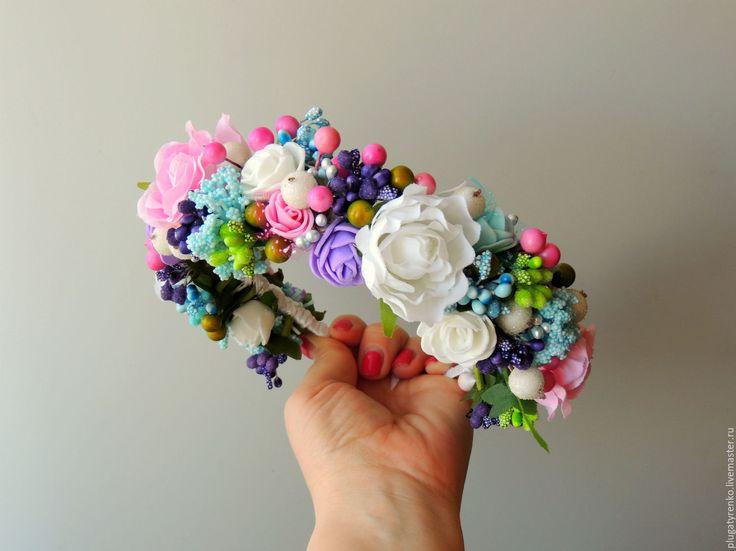 Купить Ободок-веночек для волос Весенний - веночек ободок, ободок для волос, ободок, ободок с цветами