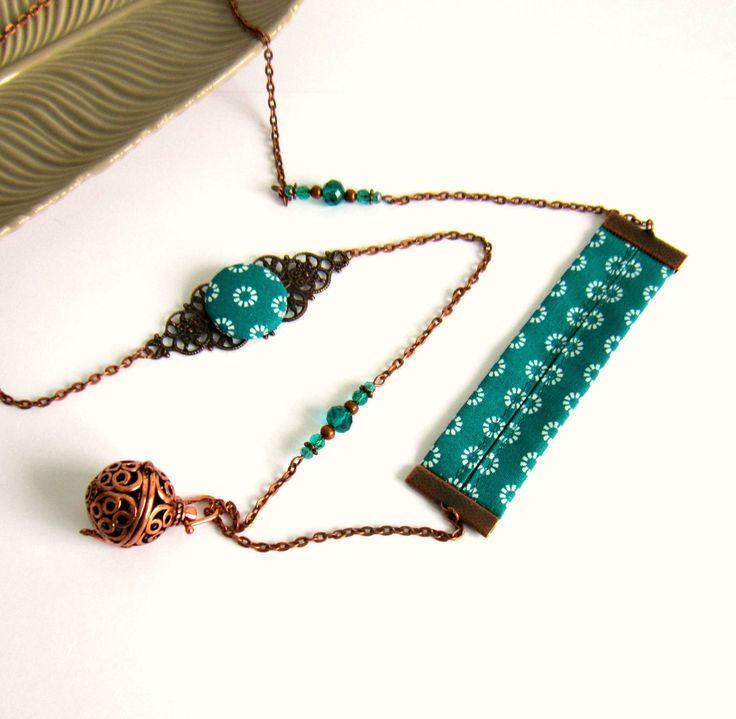 Bola de grossesse rétro, bohème chic, cuivre et vert émeraude, cadeau femme enceinte,cabochon coton, cristal : Collier par color-life-bijoux