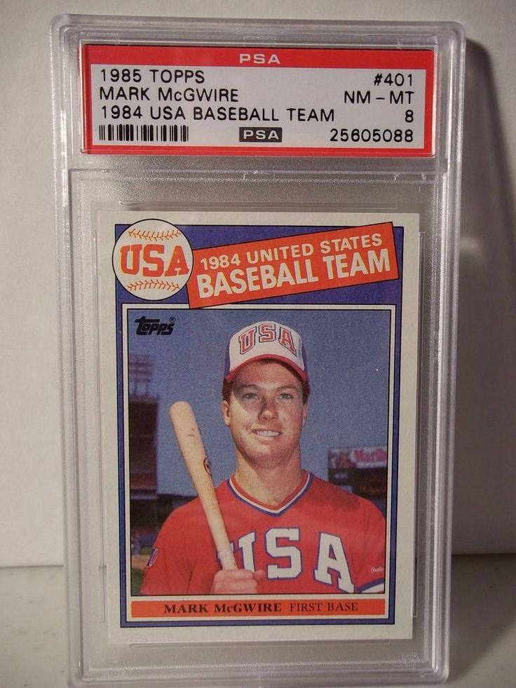 1985 topps mark mcgwire rc psa graded nmmt 8 baseball