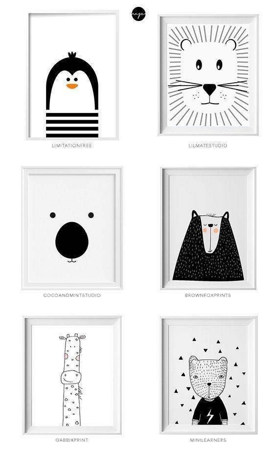 Relooking et décoration 2017 / 2018 Affiches Deco chambre d'enfants ambiance e scandinave noir et blanc et anima