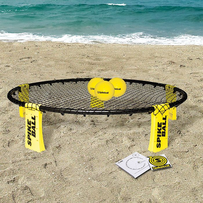 Spikeball Game Set - Beach volleyball meets playground four square. Perfect for the beach, back yard, park or even snow! 2 teams compete with rules kind of like volleyball Serve, hit, dive, pass and spike your way to victory Played 2-on-2 (four people total) Includes: Spikeball Game, Spikeball Ball, Backpack Warning: super-competitive. Trash talking is encouraged.