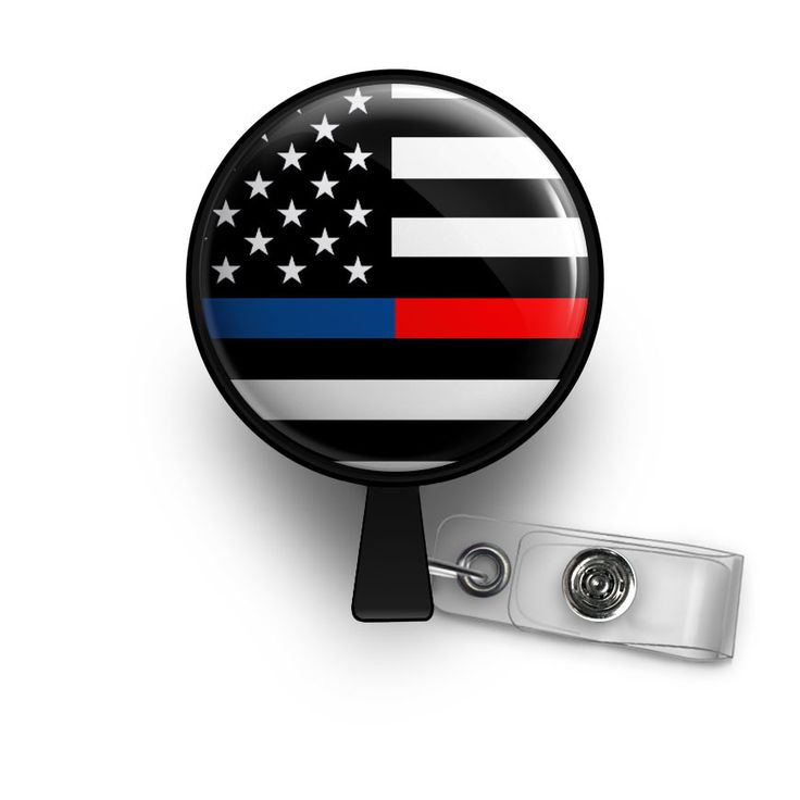 Thin Blue & Red Line Retractable ID Badge Reel